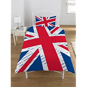 parure housse de couette linge de maison union jack drapeau anglais londres lit 1 personne. Black Bedroom Furniture Sets. Home Design Ideas
