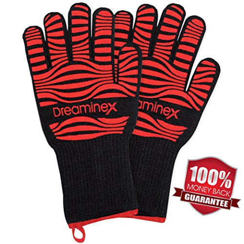Heat Resistant Gloves - Extra Long - Certified up to 932 F - Bonus Professional BBQ Recipes - Aramid Fiber & Silicone Covering - Protecting Your Hands in Kitchen Barbecue Oven, Baking, Cooking & Grill (Trigger Bbq compare prices)