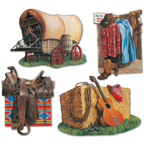 Beistle 55474 4-Pack Cowboy Cutouts, 16-Inch