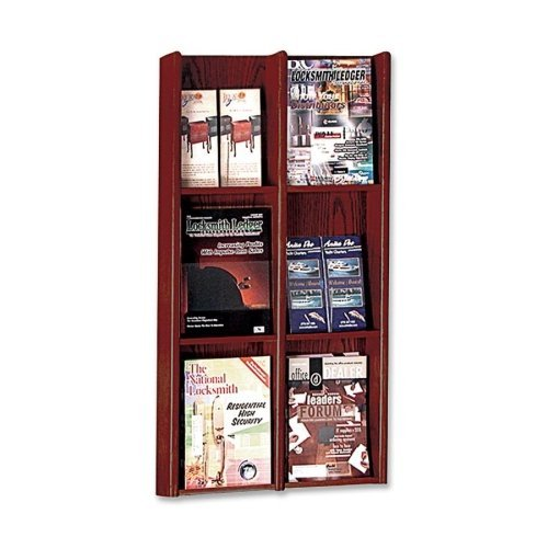 Buddy Products Oak and Acrylic 6 Pocket Literature or 12 Pocket Brochure Organizer, 3 x 36 x 20.75 Inches, Medium Cherry Finish