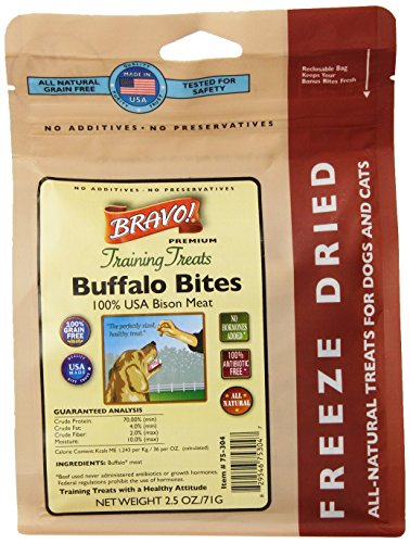 Bravo 294121 Freeze Dried Buffalo Meat Training Treat For Pets, 2.5-Ounce