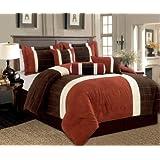 7 Piece Oversize Brown, Brick, Beige Suede COMFORTER SET / BED IN A BAG - QUEEN SIZE BEDDING