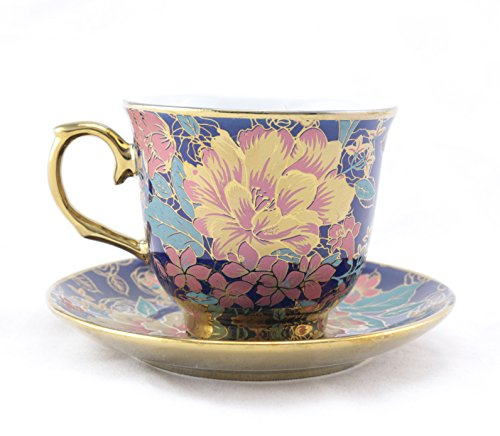 Ambilight Porcelain 6 Ounce Coffee Cup And Saucer Blue