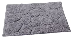 Textile Décor Castle Hill Bath Mat with Spray Latex Backing, Palm Design, 21 by 34-Inch, Silver