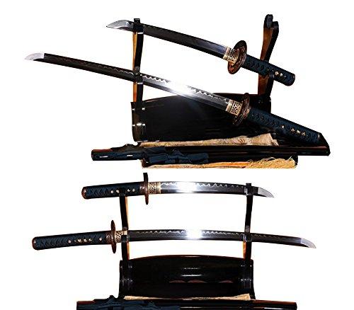 Lyuesword Japanese Sword Set of 2 Hand Forged Samurai Sword T-10 High Carbon Steel Full Tang Clay Tempered Wakizashi Tanto