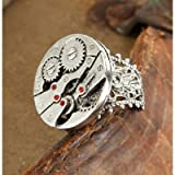 Steampunk Silver Watch Gears Ring