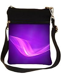 Snoogg Design Purple Wave Cross Body Tote Bag / Shoulder Sling Carry Bag