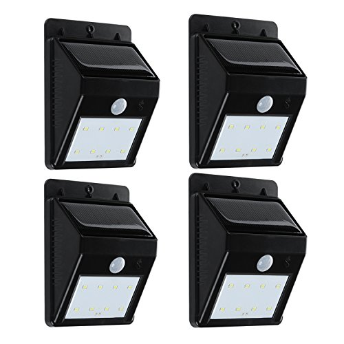 Solar Light, Turata Led Wireless Waterproof Security Motion Sensor Spotlight for Garden Outdoor Fence Patio Deck Yard Home Driveway Outside Wall Pool Hallway (4 PACK) (Patio Motion Sensor compare prices)