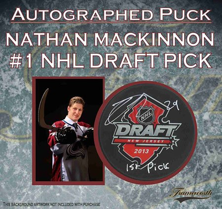 Nathan MacKinnon Signed 2013 Draft Puck - Autographed NHL Pucks