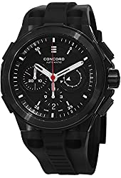 Concord C2 Automatic Chronogrph Men's Black Rubber Strap Black PVD Swiss Made Watch 0320138