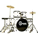 White Drum Set Full Size Adult Complete with Cymbals Stands Stick & Stool
