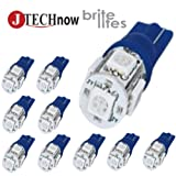 Jtech 10x 194 168 2825 T10 5-SMD Blue LED Car Lights Bulb