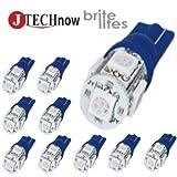 Jtech 10x 194 168 2825 T10 5-SMD Blue LED Car Lights Bulb
