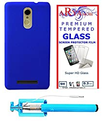 AryaMobi Hard Back Case Cover for Xiaomi Redmi Note 3 - Blue,Tempered Glass, Selfie Stick Aux Port