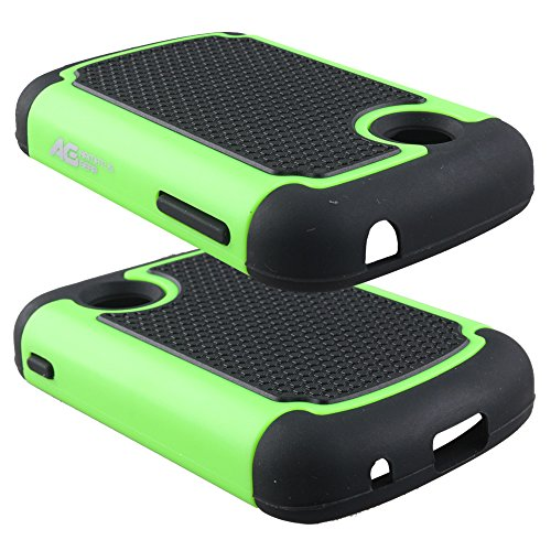 LG 306G Case - Armatus Gear (TM) Slim Defender Hex Grid Hybrid Armor Case Impact Resistant Protector Cover For LG 306G / LG 305C (TracFone / NET10 / StraightTalk) - Black/Green (Net10 Lg compare prices)