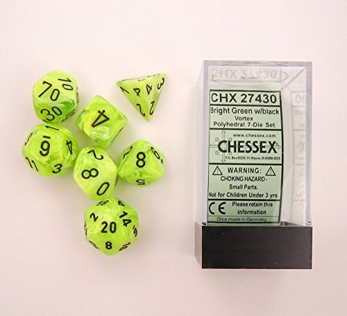 Chessex Dice: Polyhedral 7-Die Vortex Dice Set - BRIGHT Green with Black Numbers CHX-27430