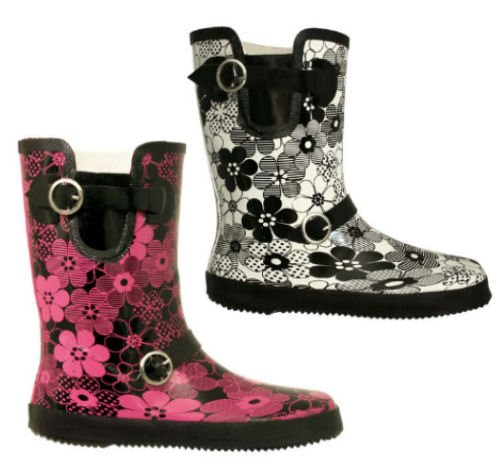 Short Flower Festival Wellies In Black and Pink