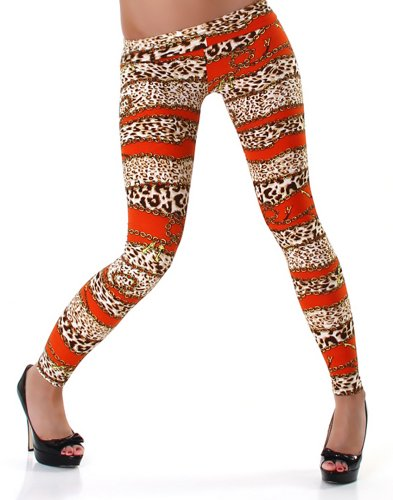 PF-Fashion Damen Leggins Leggings Leo-Ketten-Print - 34-36 Orange