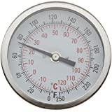 "H-B Instrument 21615 Durac Bi-Metallic Dial Thermometer, 1/2"" NPT Threaded Connection, 50 to 500° F/10 to 260 ° C, 3""/75mm Dial Diameter, 2.4""/62mm Probe Length, 2° Graduations"