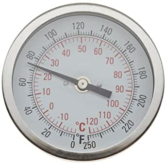"""H-B Instrument 21615 Durac Bi-Metallic Dial Thermometer, 1/2"""" NPT Threaded Connection, 50 to 500° F/10 to 260 ° C, 3""""/75mm Dial Diameter, 2.4""""/62mm Probe Length, 2° Graduations"""
