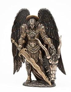 St. Michael Killing Dragon Statue 10.75 Inch Figurine