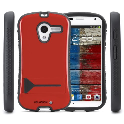 i-Blason Motorola X Moto X by Google Dual Layer Hybrid Kickstand Case with Soft Silicone Inner Case and Hard Outter Shell (Sprint, AT&T, T-Mobile, US Cellular, Verizon and All Carriers)  (Red)