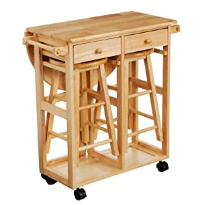 Folding Table With Chairs Stored Inside Premier Housewares Rubberwood Breakfast Set with Drop Leaf Trolley and ...