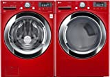 "LG PAIR SPECIAL-""Wild Cherry Red"" Ultra Large Capacity Laundry System with Steam Technology(WM3370HRA_DLEX3370R)"