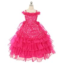 Rain Kids Little Girls 6 Fuchsia Stars Off Shoulder Pageant Dress