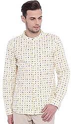 Micro Deco Ivory Mandarin Collar Shirt - L