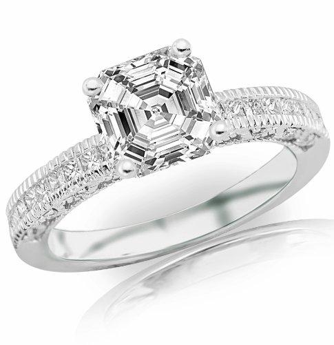 For sale 1.01 Carat Asscher Cut / Shape GIA Certified Vintage Channel Set Princess Diamond Engagement Ring With Milgrain ( G Color , VS1 Clarity )