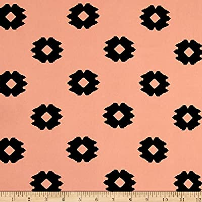 Peachskin Ikat Diamonds Black/Peach Fabric By The Yard