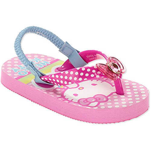 Hello Kitty Polka Dotted Flip Flops with backstraps (L (9-10) Age 2-4)