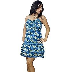 Atulya Women's Dress (ATOP01B_Blue_Large)
