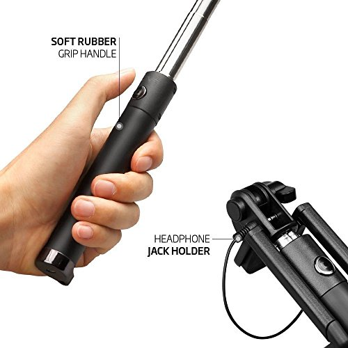 lsoug selfie stick oldable extendable bluetooth selfie stick with built in remote shutter iphone. Black Bedroom Furniture Sets. Home Design Ideas