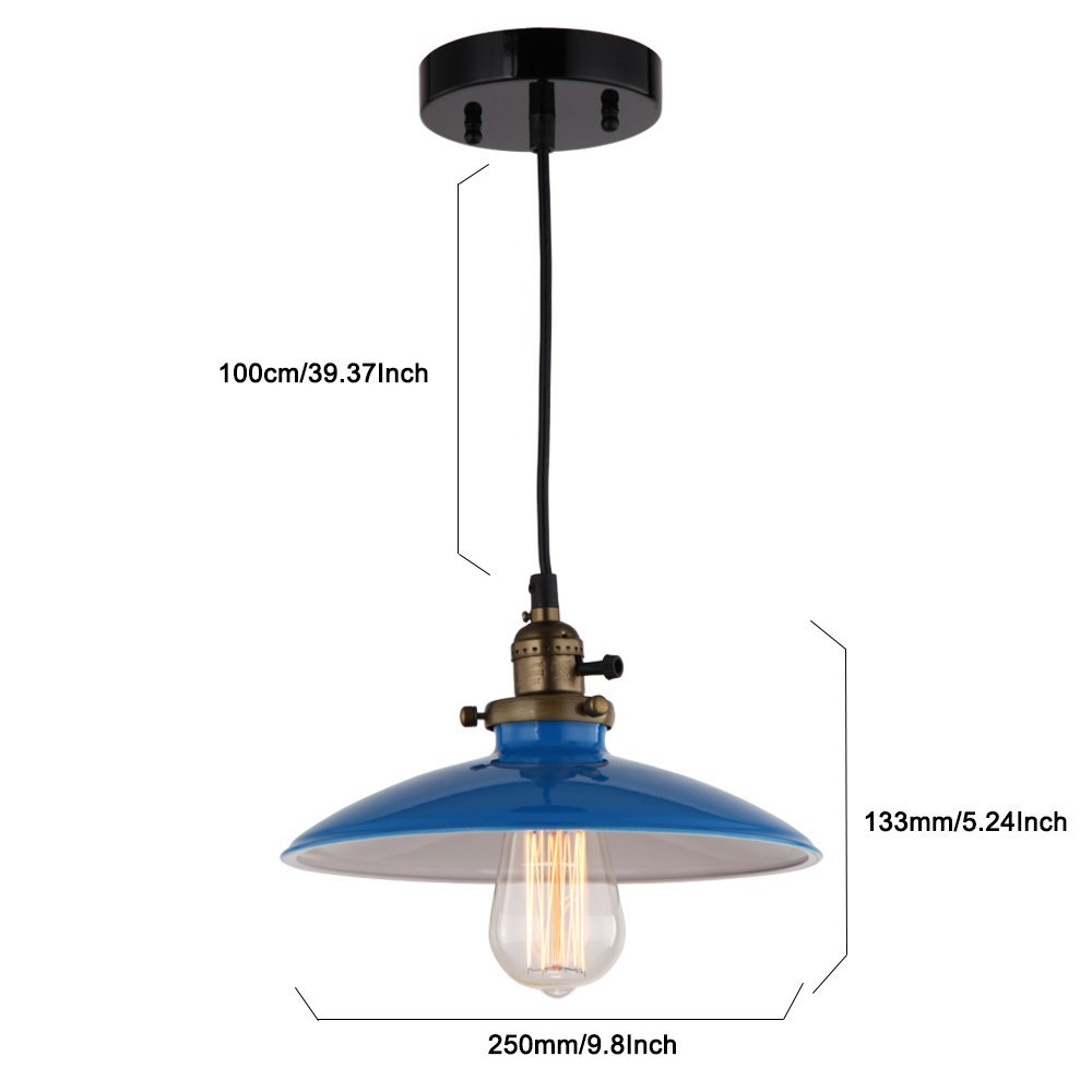 JEMMY HO Metal Pendant Light Dia 10 Inches Mini Vintage Industrial Barn Pendant Lamp (Blue) 2