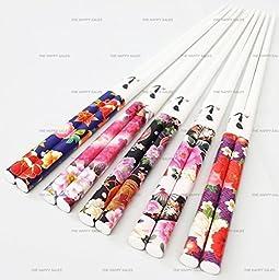 Happy Sales 5 Pairs Chopsticks Flower & Leaves Design White #7179 by Happy Sales