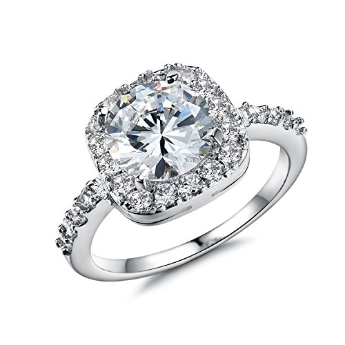 Olen White Gold Plated Cubic Zirconia Diamond Engagement Rings for Women (Ring Size 9)
