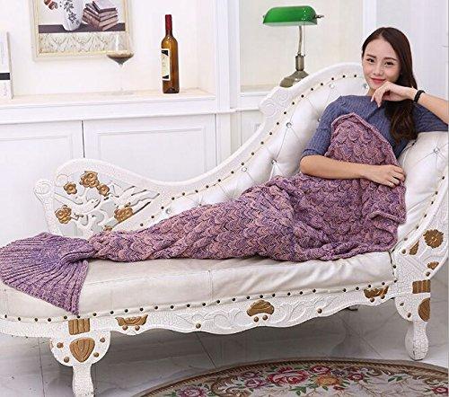 [Knitted Mermaid Tail Blanket -DDbest Mermaid Handmade Crochet Blanket For kids Teens Adult All Seasons Sleeping Blanket Warm Soft Snuggly Living Room Quilt 71''x33'' light Purple] (Super Deluxe Mermaid Costumes)