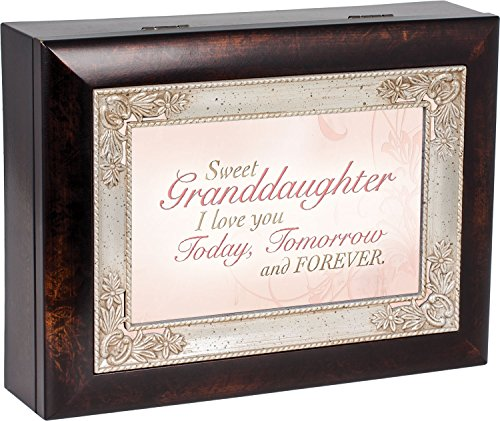 Sweet Granddaughter Dark Wood Finish Jewelry Music Box Plays Tune You Are My Sunshine