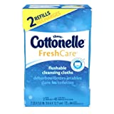 Cottonelle Fresh Care Flushable Cleansing Cloths 2 Refills, 84 Count (Pack of 2)