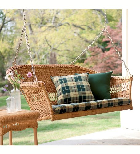 All-Weather Resin Outdoor Everyday Wicker Swing , In Tan image