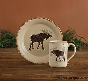 Rustic Retreat Mug Ceramic Stoneware Cream Moose Country