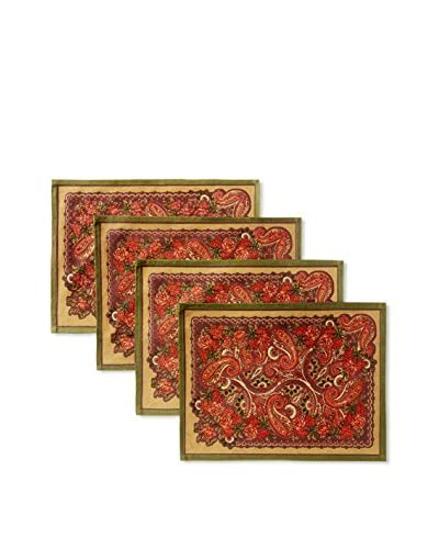 April Cornell Set of 4 Paris Paisley Placemats, Chocolate
