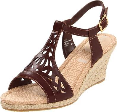 Rockport Women's Emily Laser Cut T-Strap Sandal, Deep Mahogany, 8 M US