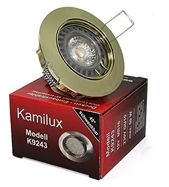 5W LED Leuchtmittel /& GU10 Fassung 230V Kristall Einbaustrahler Set eckig inkl