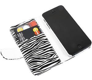 iTALKonline BLACK WHITE ZEBRA SUPER SLIM PATTERN Executive Book Wallet Case Cover Skin with Credit Card Holder For Apple iPhone 5 (2012)