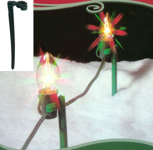Pack of 25 Green Christmas Light Stakes for Outdoor