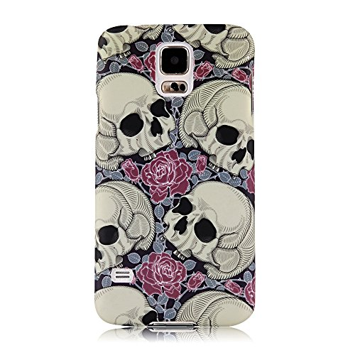 S5 Case, Galaxy S5 Case - Mollycoocle Fashion Style Colorful Painted Pattern Pc Hard Cover Case For Samsung Galaxy S5 I9600 Sm-G900A Sm-G900T Sm-G900P Sm-G900V Sm-G900R4 Developer Edition(Skull With Flowers)