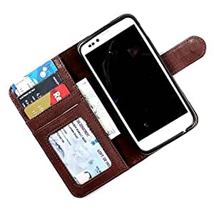 i-KitPit PU Leather Wallet Flip Case Cover For HTC Desire 501 / 501 Dual Sim (Brown)